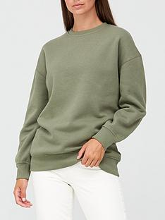 v-by-very-the-essential-longline-crew-neck-sweatshirt-khaki