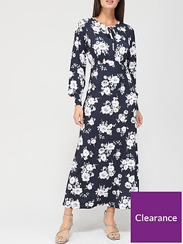 v-by-very-keyhole-midaxi-dress-navy-floral