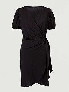 v-by-very-wrap-puff-sleeve-dress-black