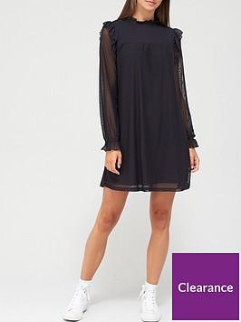 v-by-very-long-sleeve-shirred-ruffle-mini-dress-black
