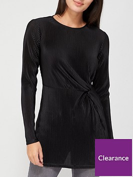 v-by-very-long-sleeve-plisse-knot-tunic-black