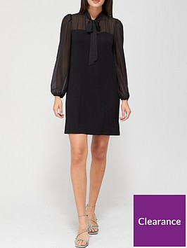 v-by-very-chiffon-neck-bow-mini-dress-black
