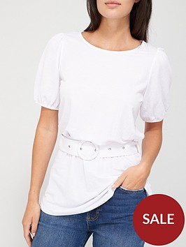 v-by-very-short-sleeve-puff-belted-top-white