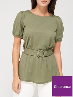 v-by-very-short-sleeve-puff-belted-top-khaki