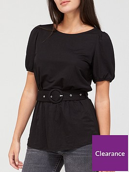 v-by-very-short-sleeve-puff-belted-top-black