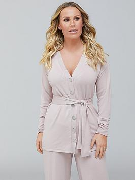 Kate Ferdinand Kate Ferdinand Button Detail Ribbed Cardigan Co-Ord - Blush Picture