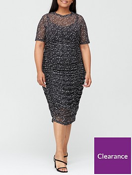 v-by-very-curve-ruched-mesh-pencil-dress-spot-print