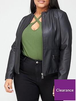 v-by-very-curve-collarless-pu-jacket-black
