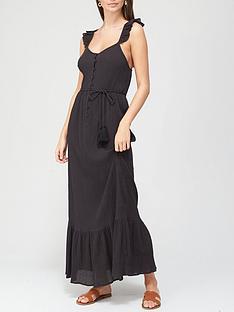 v-by-very-ruffle-detail-lightweightnbspmaxi-dress-black