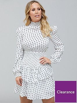 kate-ferdinand-shirred-waist-ruffle-hem-mini-dress-spot