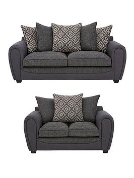 Very Harrison Compact Fabric 3 Seater + 2 Seater Scatter Back Sofa Set  ... Picture