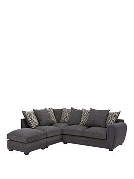 Very Harrison Compact Fabric Left Hand Corner Chaise Scatter Back Sofa  ... Picture
