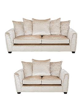 Very Glitz 3 Seater + 2 Seater Fabric Scatter Back Sofa - Champagne (Buy  ... Picture