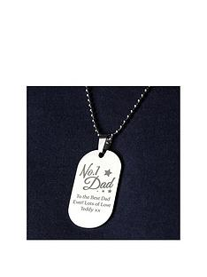 personalised-stainless-steel-no1-dad-dog-tag-pendant-and-chain