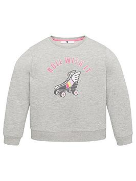 V by Very V By Very Girls Roll With It Sweat Shirt - Grey Marl Picture