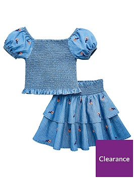 v-by-very-girls-embroidered-floral-chambray-top-and-skirt-set-denim