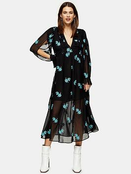 Topshop Topshop Idol Embelished Floral Midaxi Dress - Black Picture