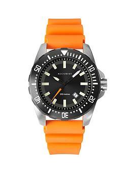 Accurist Accurist Accurist 200M Divers Black Sunray Date Dial Orange  ... Picture