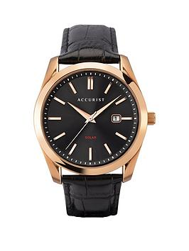 Accurist Accurist Accurist Solar Black Sunray And Rose Gold Detail Date  ... Picture