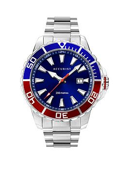 Accurist Accurist Accurist 200M Divers Blue Sunray And Red Detail Date  ... Picture