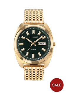 accurist-accurist-retro-range-green-daydate-dial-gold-stainless-steel-bracelet-watch