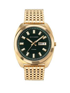 Accurist Accurist Accurist Retro Range Green Daydate Dial Gold Stainless  ... Picture