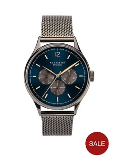accurist-accurist-blue-sunray-and-carnation-gold-detail-multi-dial-gunmetal-grey-stainless-steel-mesh-strap-mens-watch