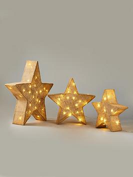 Product photograph showing Set Of 3 Pre-lit Hessian-effect Star Lights