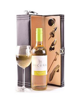 Very White Wine In Black Faux Leather Gift Box With Accessories Picture