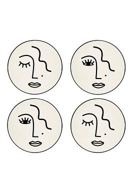 Sass & Belle Sass & Belle Set Of 4 Abstract Face Coasters Picture