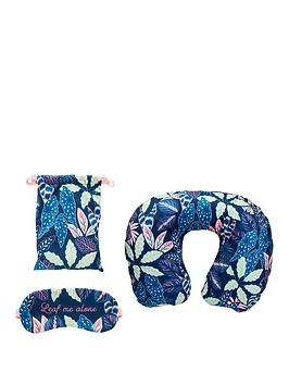 Sass & Belle Sass & Belle Variegated Leaves Travel Pillow And Eye Mask Set Picture
