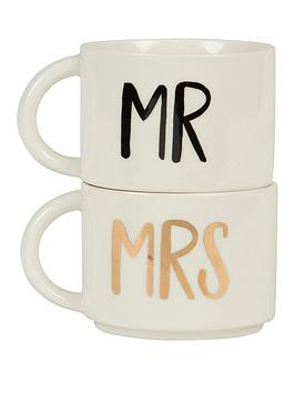 Sass & Belle Sass & Belle Mr & Mrs Stacking Mugs Set Of 2 Picture