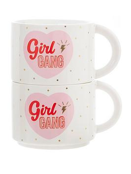 Sass & Belle Sass & Belle Girl Power Stacking Mugs Set Of 2 Picture