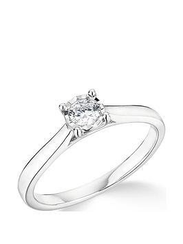 Very  9K White Gold 0.20Ct Illusion Set Diamond Ring