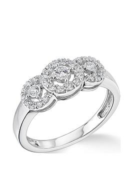 Very  9K White Gold 3 Stone Halo 0.33Ct Diamond Ring