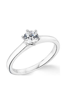 Very  9K White Gold 6 Claw 1/2 Ct Diamond Solitaire Ring