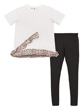 V by Very V By Very Girls Animal Chiffon Ruffle Top And Legging Set - Multi Picture