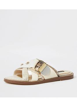River Island River Island Buckle Studded Strap Sandals - Beige Picture