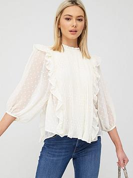 River Island River Island Pleated Frill Detail Blouse - Cream Picture