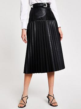 River Island River Island River Island Pu Western Pleated Midi Skirt -  ... Picture