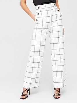 River Island River Island Windowpane Check Wide Leg Trousers - White Picture