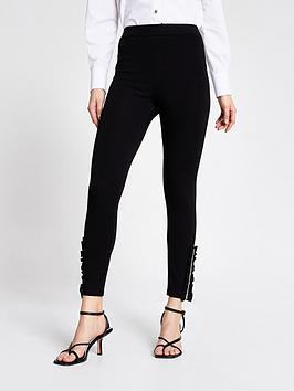 River Island River Island Diamante Trim Legging - Black Picture