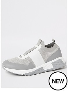 river-island-river-island-knit-contrast-strap-trainer-grey