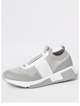 River Island River Island Knit Contrast Strap Trainer - Grey Picture