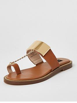 River Island River Island Wide Fit Toe Loop Chain Sandal - Tan Picture