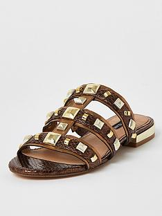 river-island-metallic-studded-sandal-brown