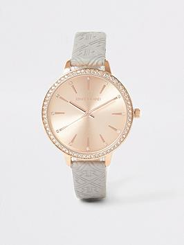 river-island-embossed-pu-strap-watch-grey