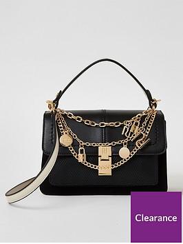 river-island-chain-detail-cross-body-satchel-bag-black