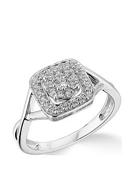 Very  9K White Gold 0.33Ct Diamond Halo Cluster Ring