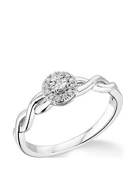 Very  9K White Gold 0.10Ct Cluster Ring With Twisted Shoulders